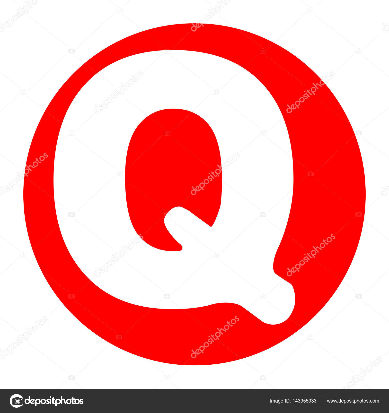 Letter Q Sign Design Template Element Vector White Icon In Red