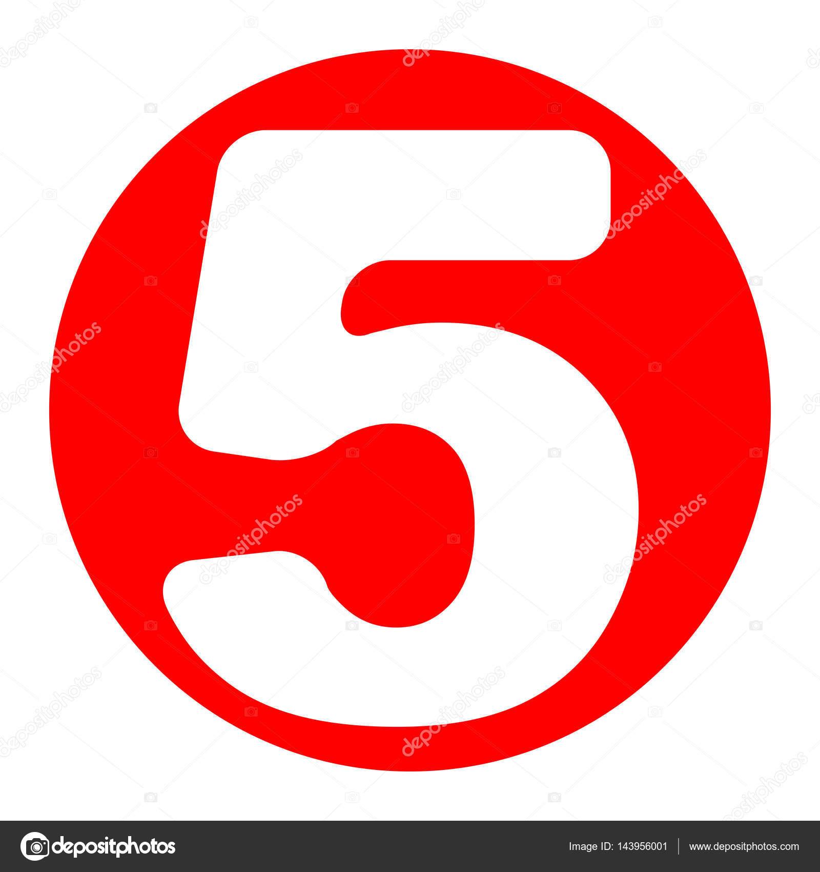 Elemento de plantilla de diseño de signo de número 5. Vector. Icono ...