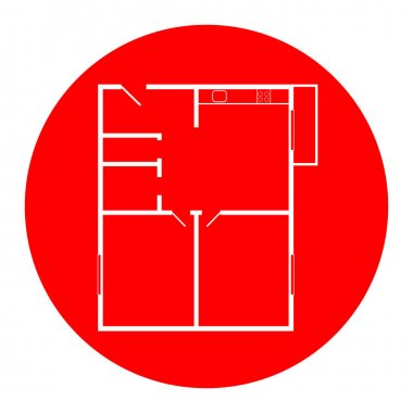 Apartment house floor plans. Vector. White icon in red circle on white background. Isolated.