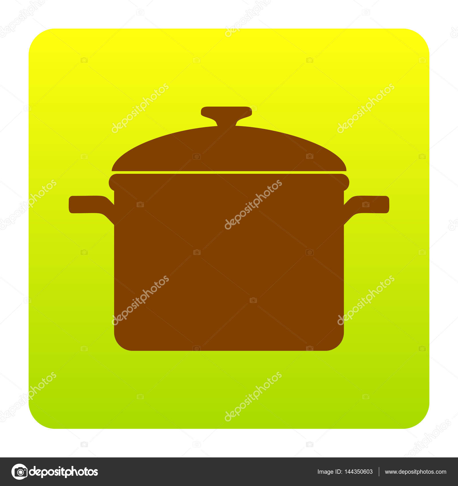 cooking pan sign vector brown icon at green yellow gradient square rh depositphotos com Spoon Clip Art Batter in Pan