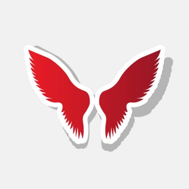 Wings sign illustration. Vector. New year reddish icon with outside stroke and gray shadow on light gray background.