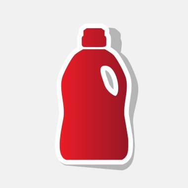 Plastic bottle for cleaning. Vector. New year reddish icon with outside stroke and gray shadow on light gray background.