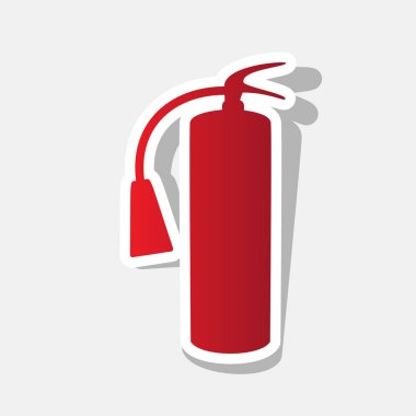 Fire extinguisher sign. Vector. New year reddish icon with outside stroke and gray shadow on light gray background.