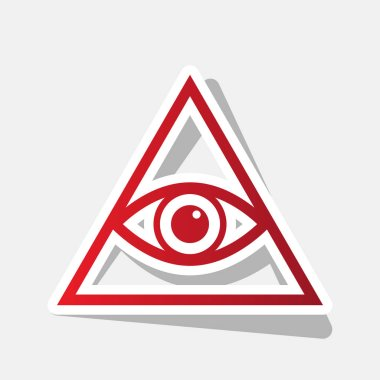 All seeing eye pyramid symbol. Freemason and spiritual. Vector. New year reddish icon with outside stroke and gray shadow on light gray background.
