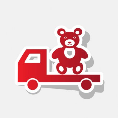 Truck with bear. Vector. New year reddish icon with outside stroke and gray shadow on light gray background.