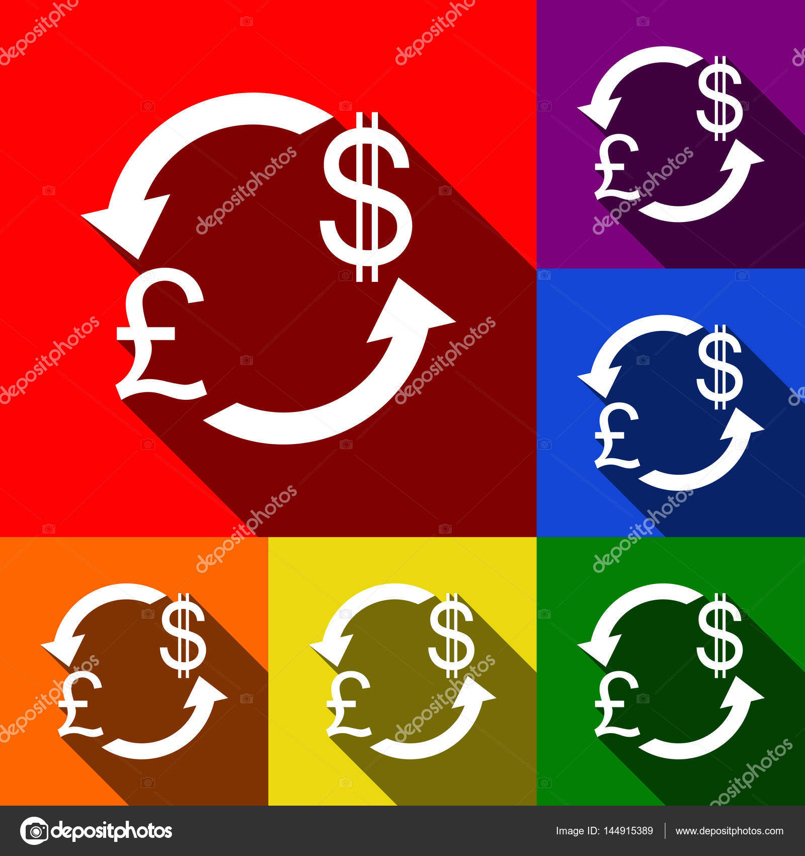 Currency Exchange Sign Uk Pound And Us Dollar Vector Set Of