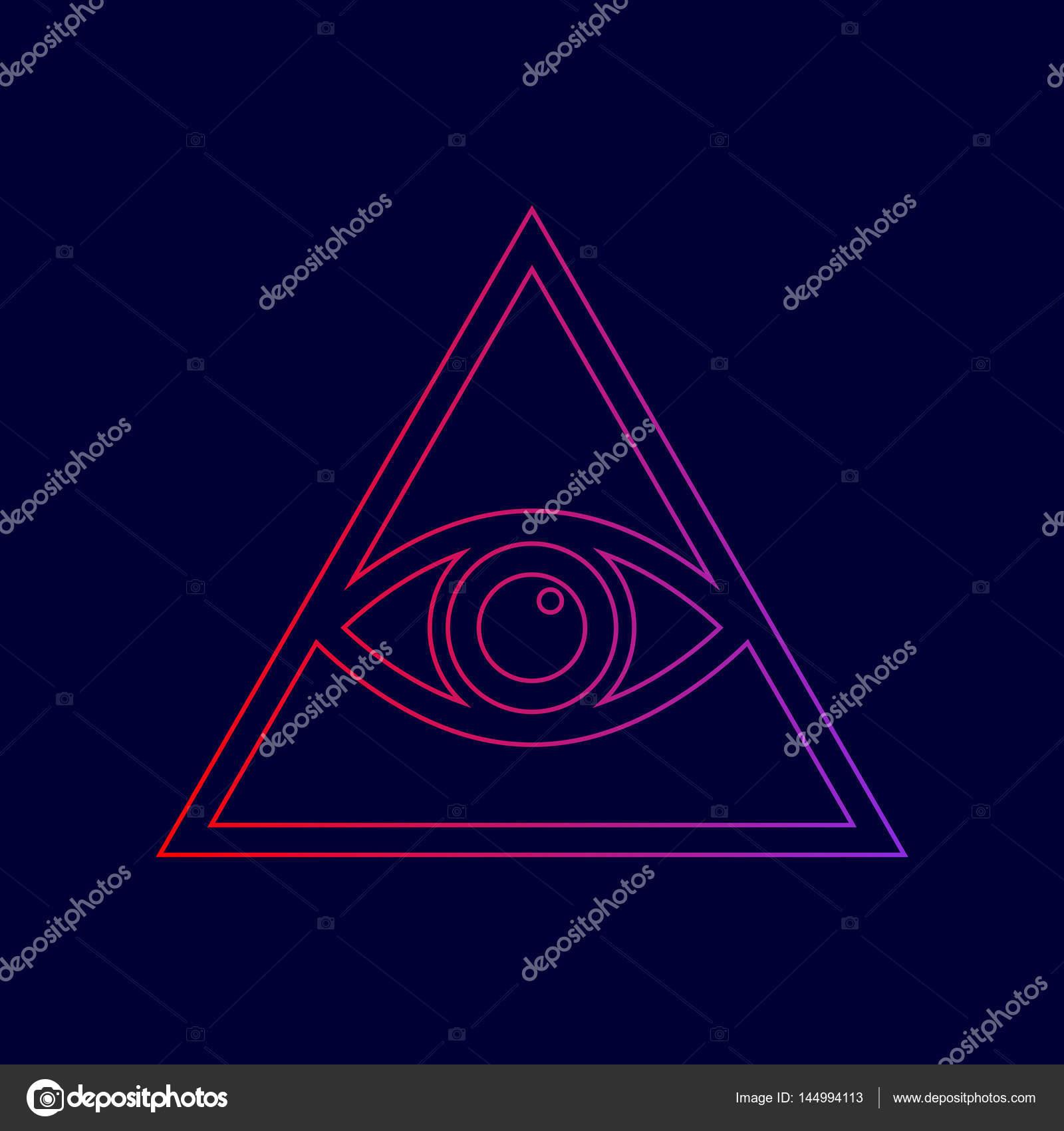 8c035c3c96beb Ver todo símbolo de la pirámide de ojo. Francmasón y espiritual. Vector.  Icono de línea con degradado de rojo a violetas colores sobre fondo azul  oscuro ...