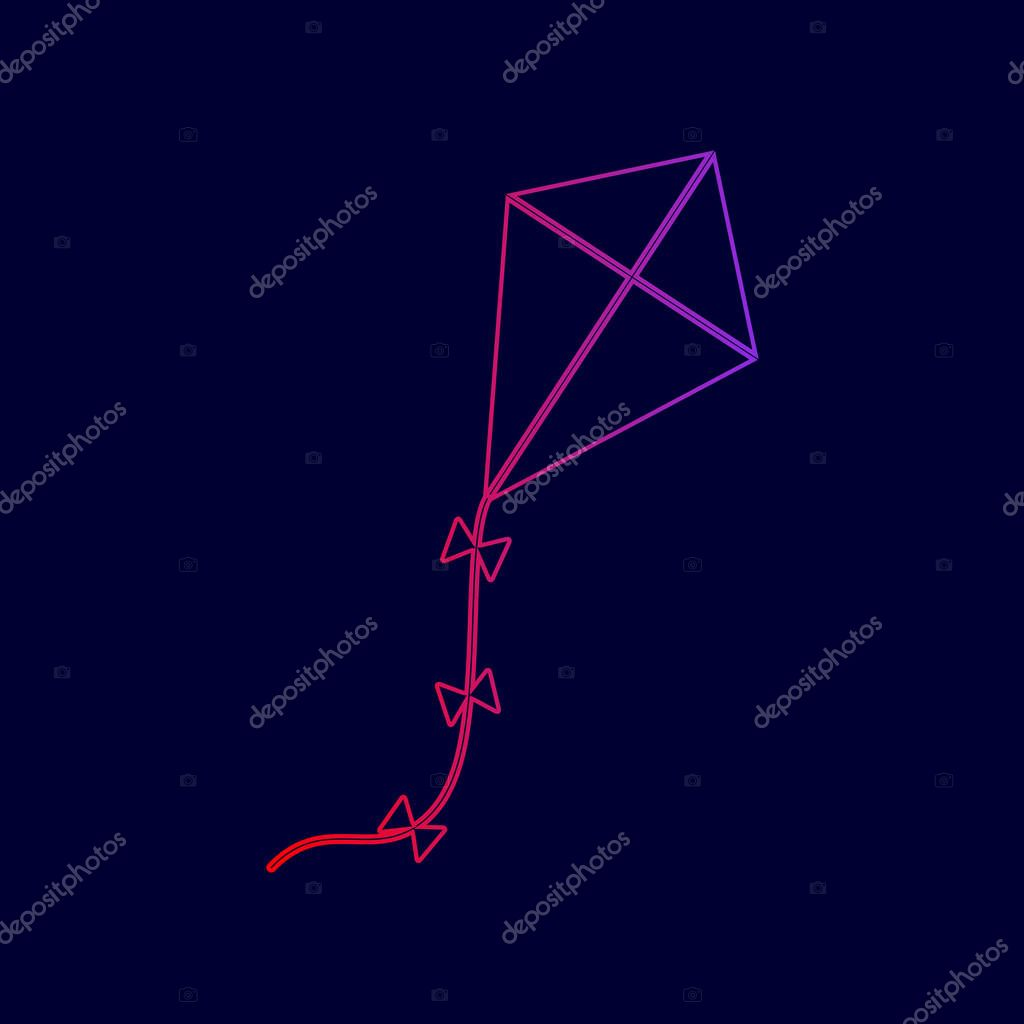 Kite sign. Vector. Line icon with gradient from red to violet colors on dark blue background.