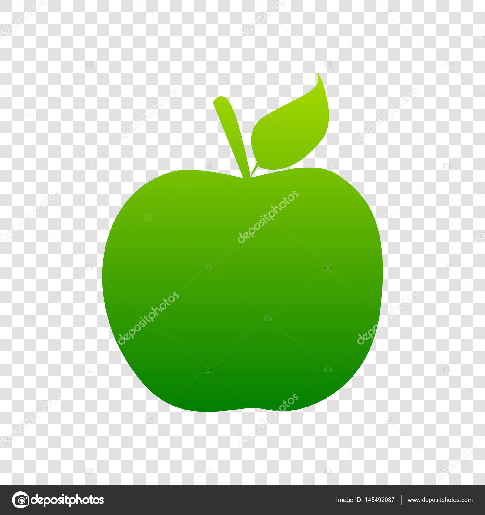 apple sign illustration. vector. green gradient icon on transparent