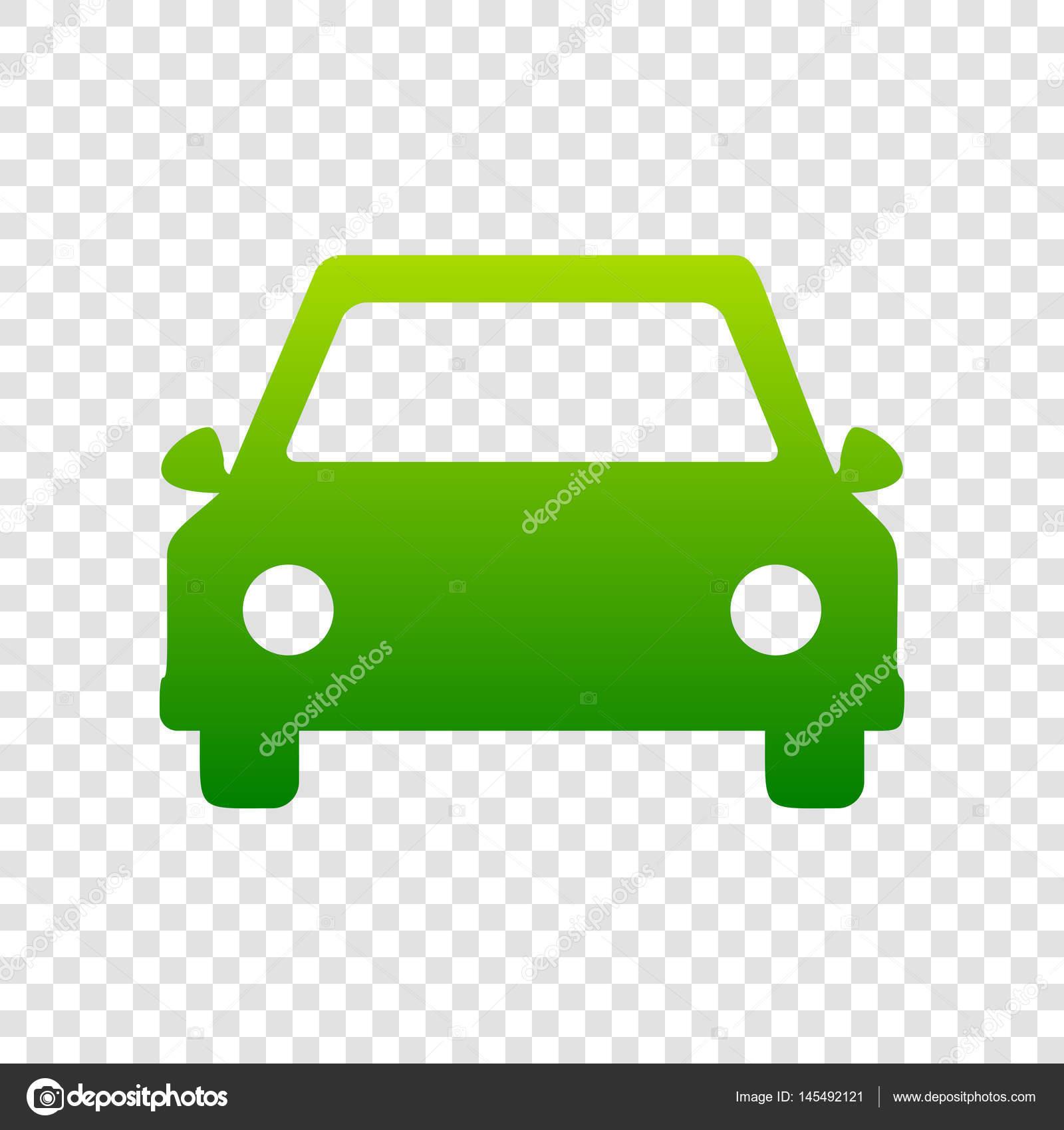 Ilustración de signo de coche. Vector. Icono verde degradado de ...