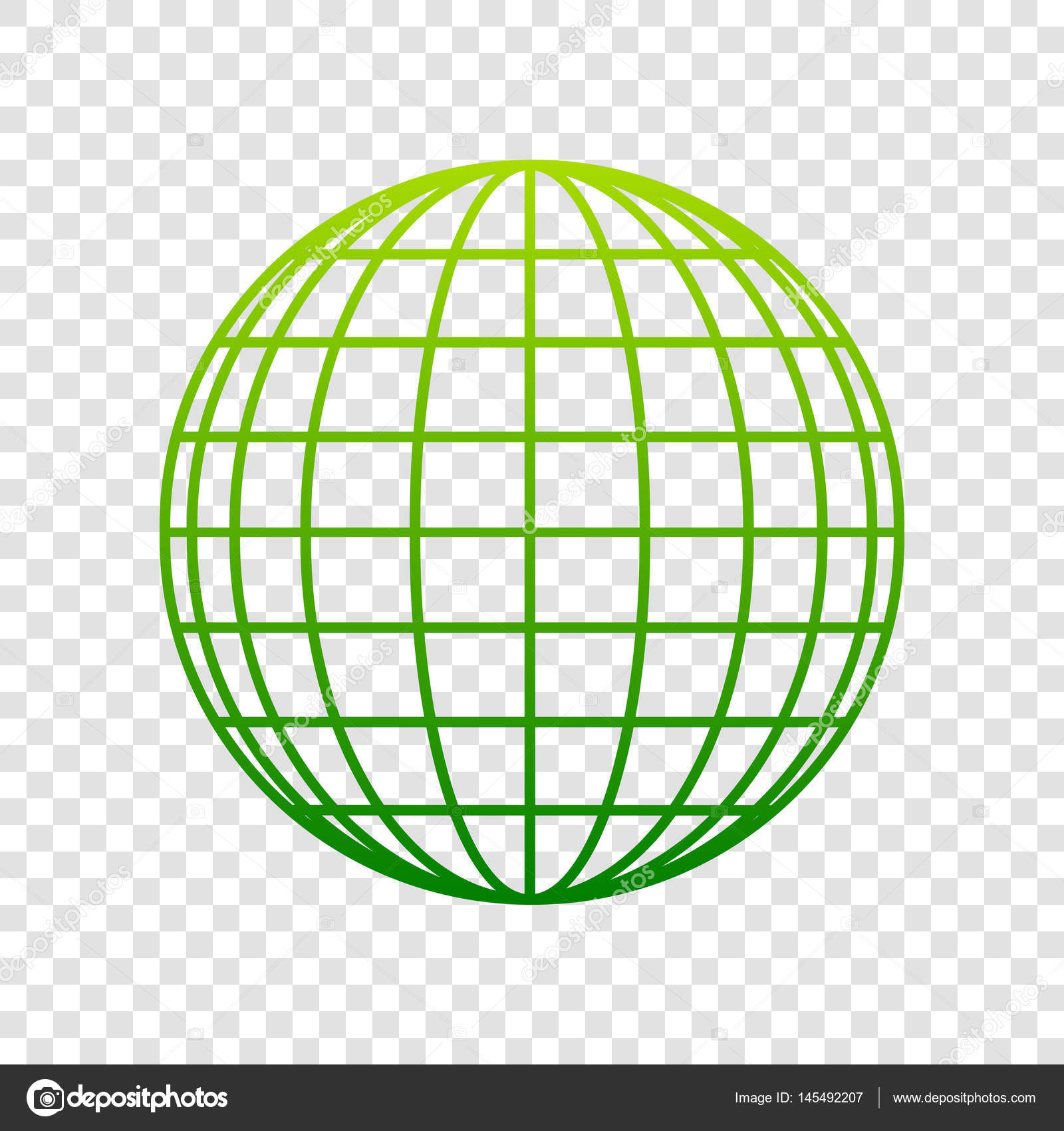 earth globe sign vector green gradient icon on