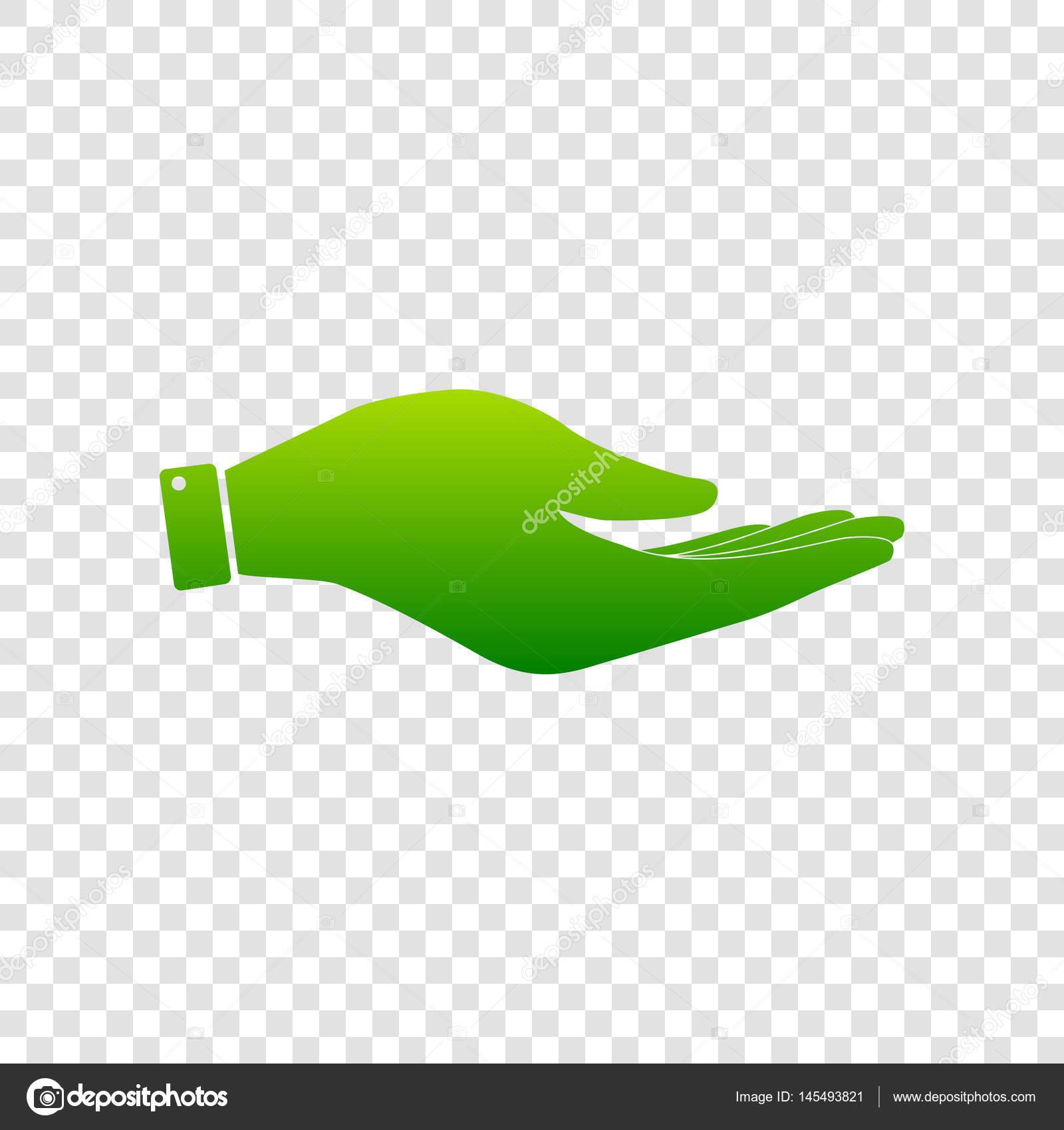 手サイン イラスト。ベクトル。透明な背景に緑色のグラデーションの