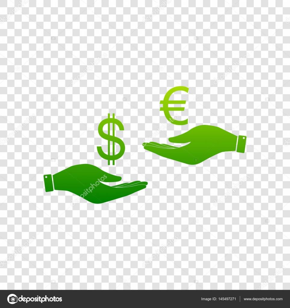 Bureau De Change De Main A Main Dollar Et Euro Vector Icone De