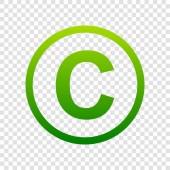 Copyright jel illusztráció. Vektor. Átlátszó háttér színátmenet zöld ikonra