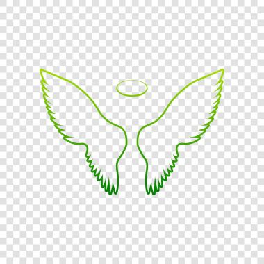 Wings sign illustration. Vector. Green gradient icon on transparent background.