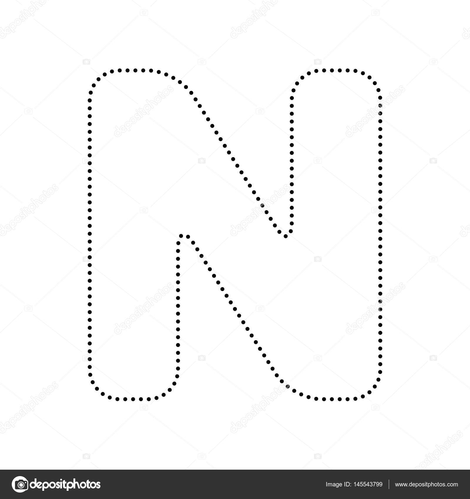 Letter N Sign Design Template Element Vector Black Dotted Icon