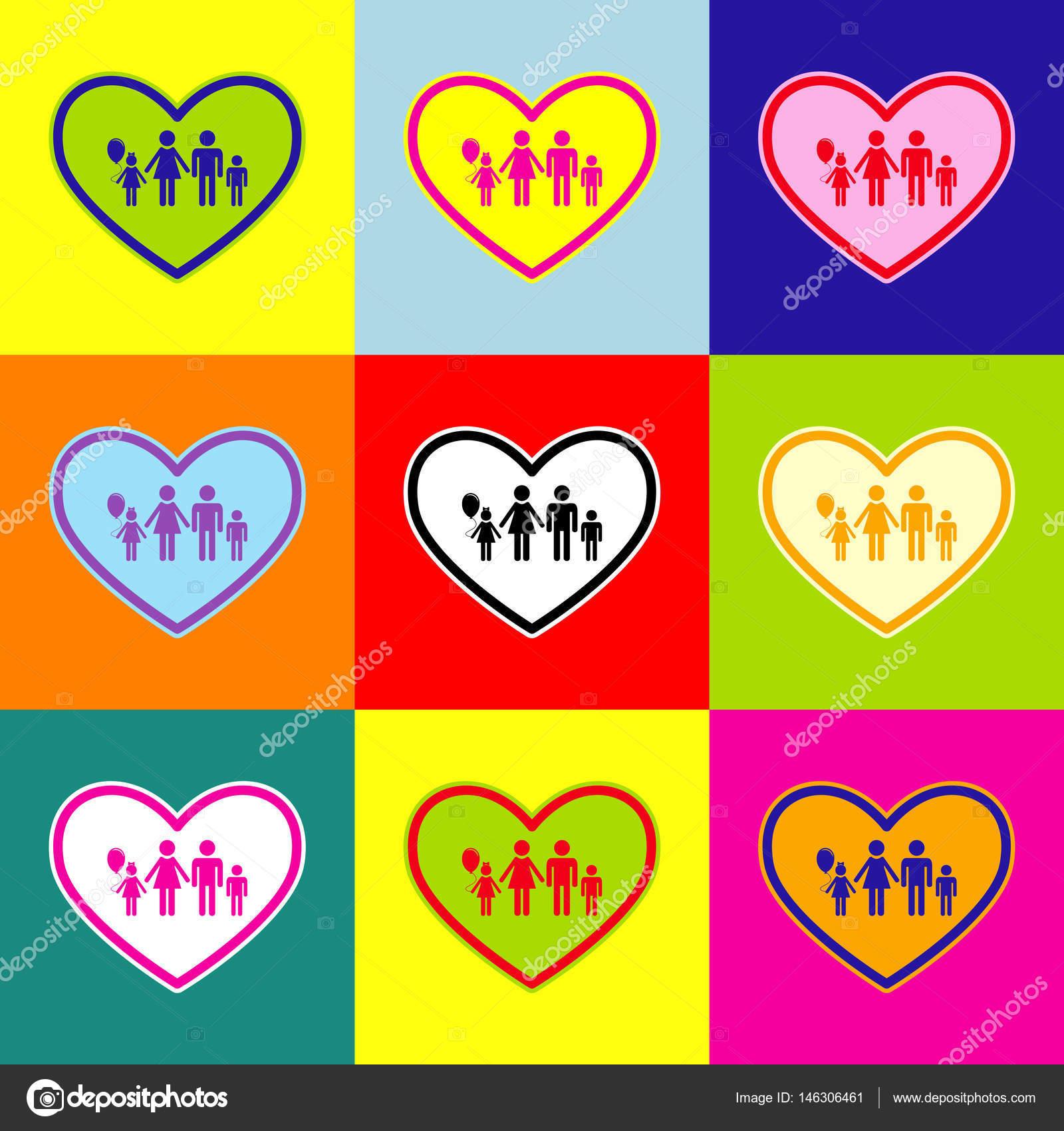 Family sign illustration in heart shape. Vector. Pop-art style ...