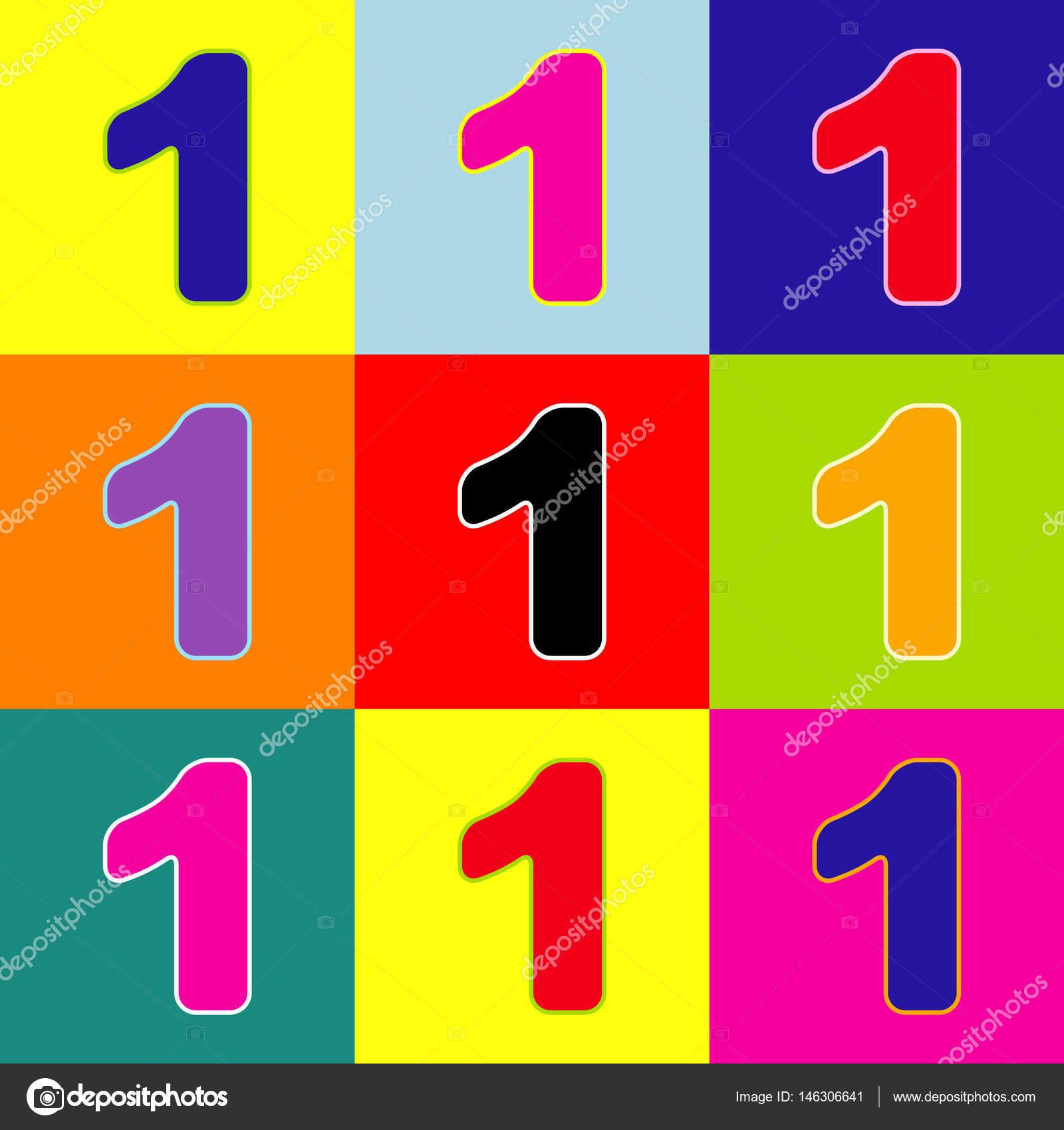Elemento de plantilla de diseño de signo de número 1. Vector ...