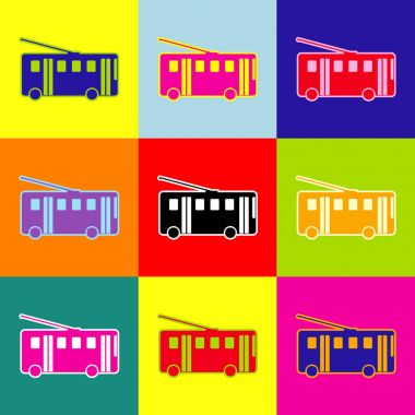 Trolleybus sign. Vector. Pop-art style colorful icons set with 3 colors.