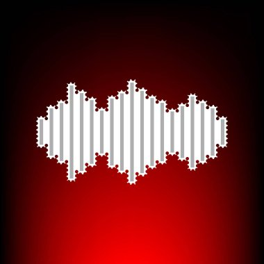 Sound waves icon. Postage stamp or old photo style on red-black gradient background.