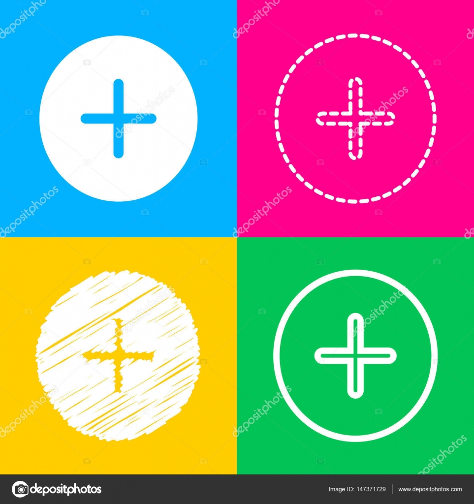 Positive symbol plus sign four styles of icon on four color positive symbol plus sign four styles of icon on four color squares stock biocorpaavc Choice Image