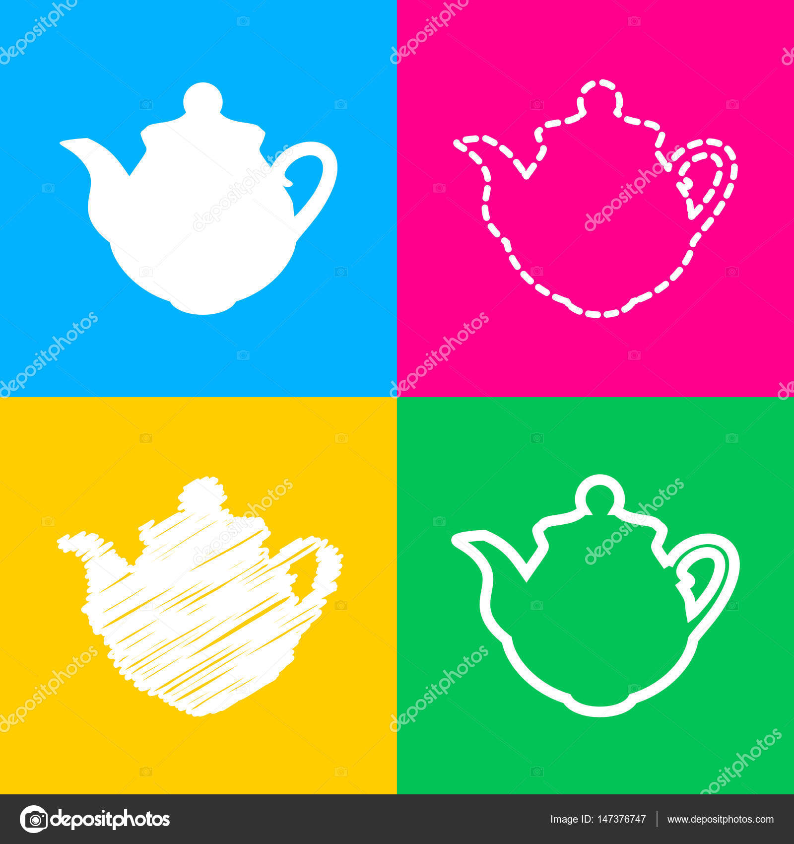 Tea maker Kitchen sign. Four styles of icon on four color squares ...