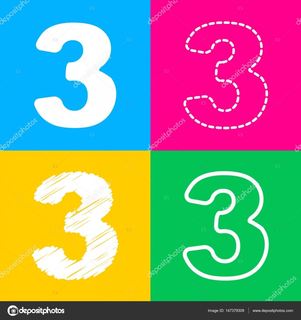 Number 3 sign design template element. Four styles of icon on four ...