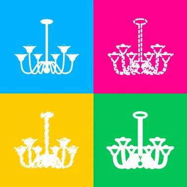Chandelier simple sign. Four styles of icon on four color squares.