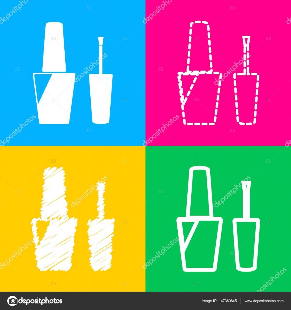 Signo de esmalte de uñas. Cuatro estilos de icono de cuatro ...
