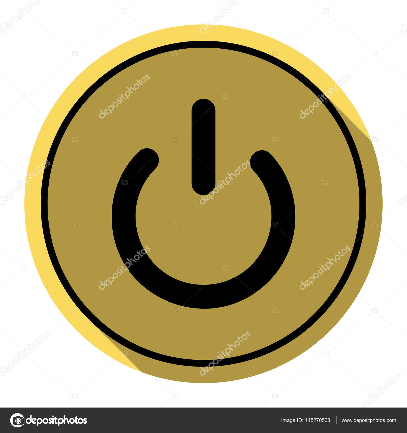 On Off Switch Sign Vector Flat Black Icon With Flat Shadow On