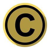 Copyright jel illusztráció. Vektor. Lapos fekete ikon lapos árnyéka a királyi sárga kör-val fehér háttér. Elszigetelt