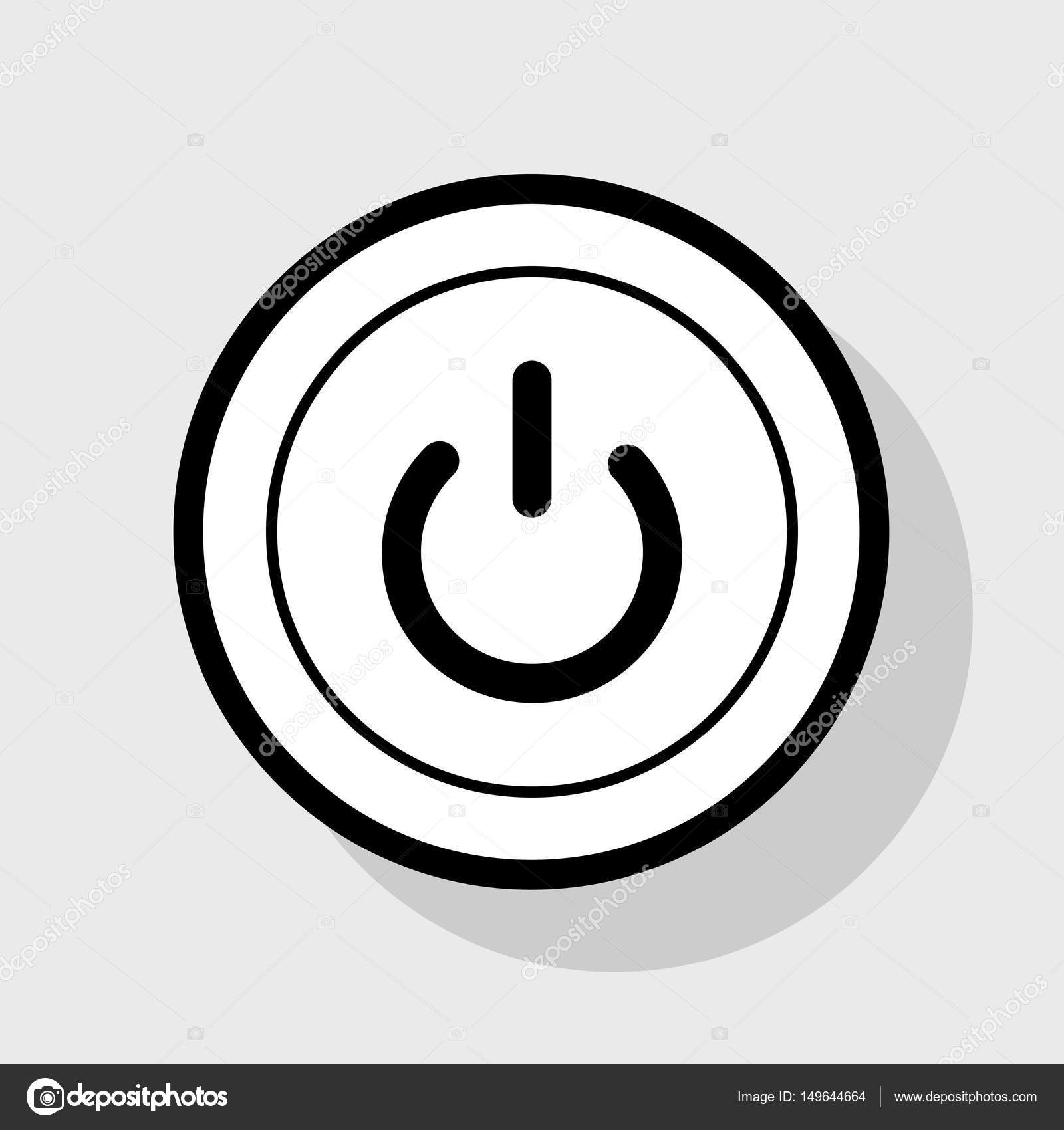 On Off Switch Sign Vector Flat Black Icon In White Circle With
