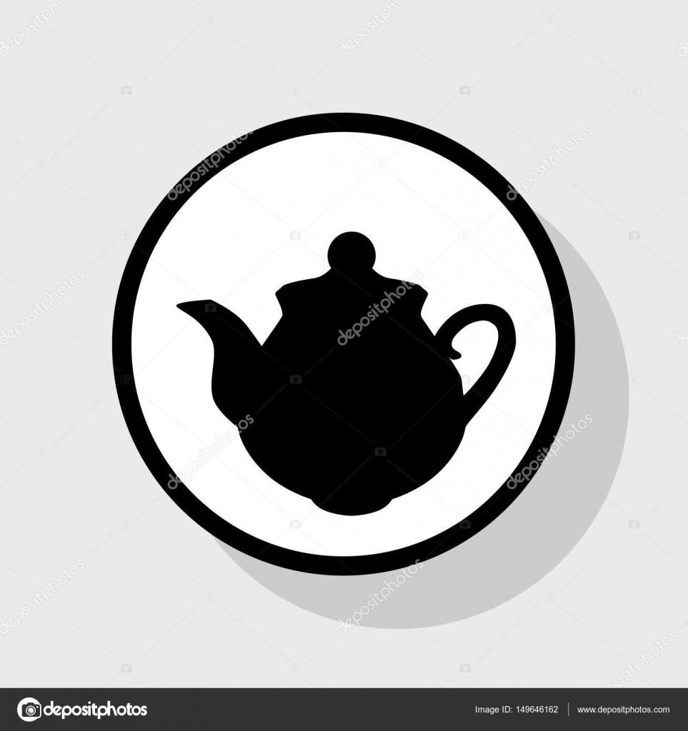 Tea maker sign  Vector  Flat black icon in white circle with