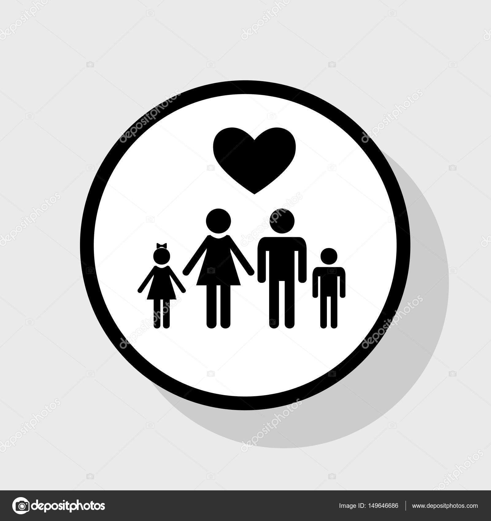 Family symbol with heart husband and wife are kept childrens family symbol with heart husband and wife are kept childrens hands love vector flat black icon in white circle with shadow at gray background buycottarizona