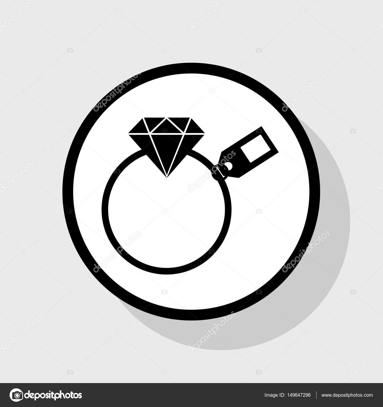 Sinal de diamante com tag  Vector  Preto liso ícone no