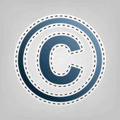 Copyright jel illusztráció. Vektor. Kék ikon vázlat a szürke háttér kivágása