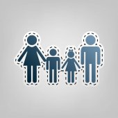 Fotografie Familie Schild. Vektor. Blaues Symbol mit Umriss zum Ausschneiden auf grauem Hintergrund.