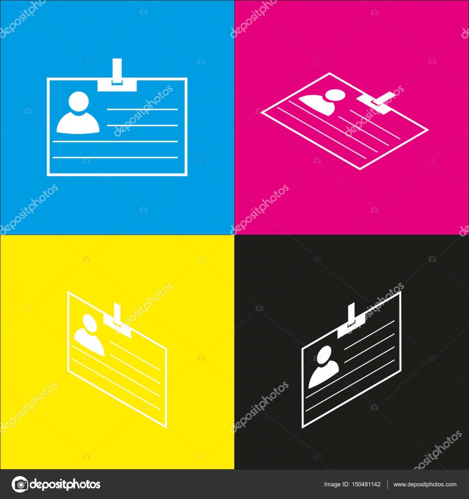id card sign vector white icon with isometric projections on cyan
