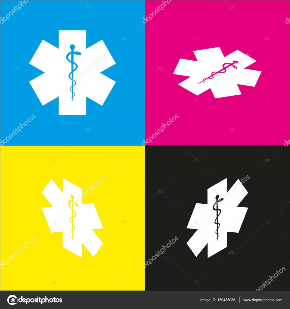 Medical Symbol Of The Emergency Or Star Of Life Vector White Icon