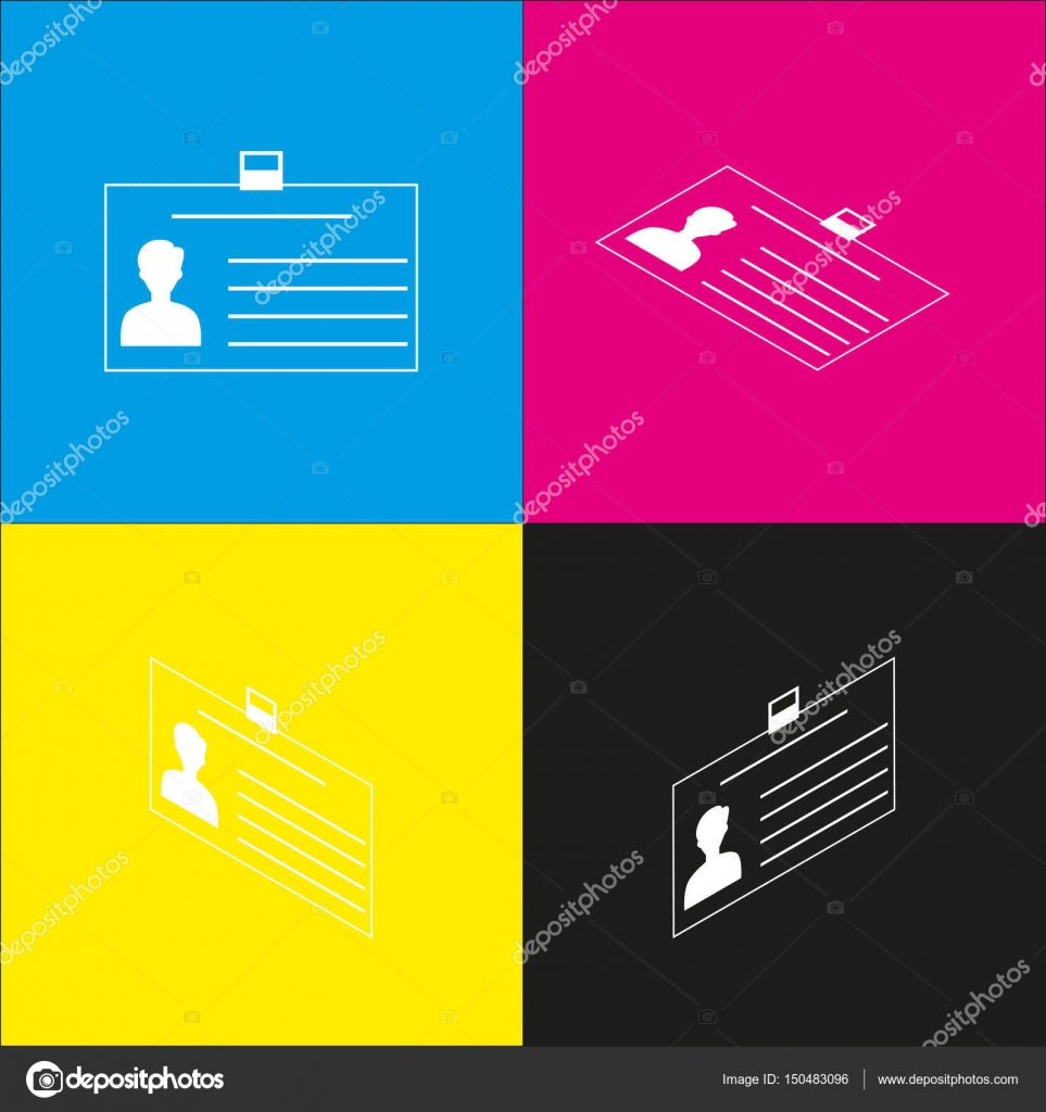 identification card sign vector white icon with isometric