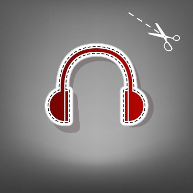 Headphones sign illustration. Vector. Red icon with for applique from paper with shadow on gray background with scissors.