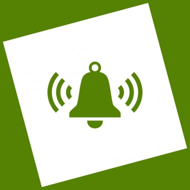 Ringing bell icon. Vector. White icon obtained as a result of subtraction rotated square and path. Avocado background.