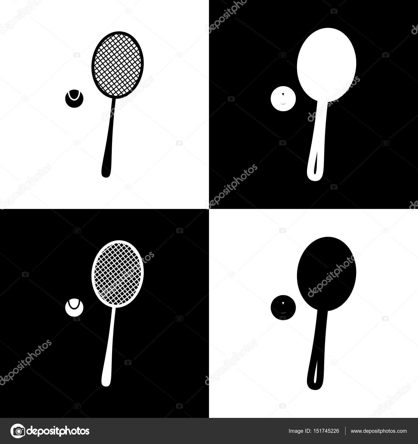 44ae07909 Raquete de tênis com sinal de bola. Vector. Ícones de preto e branco ...