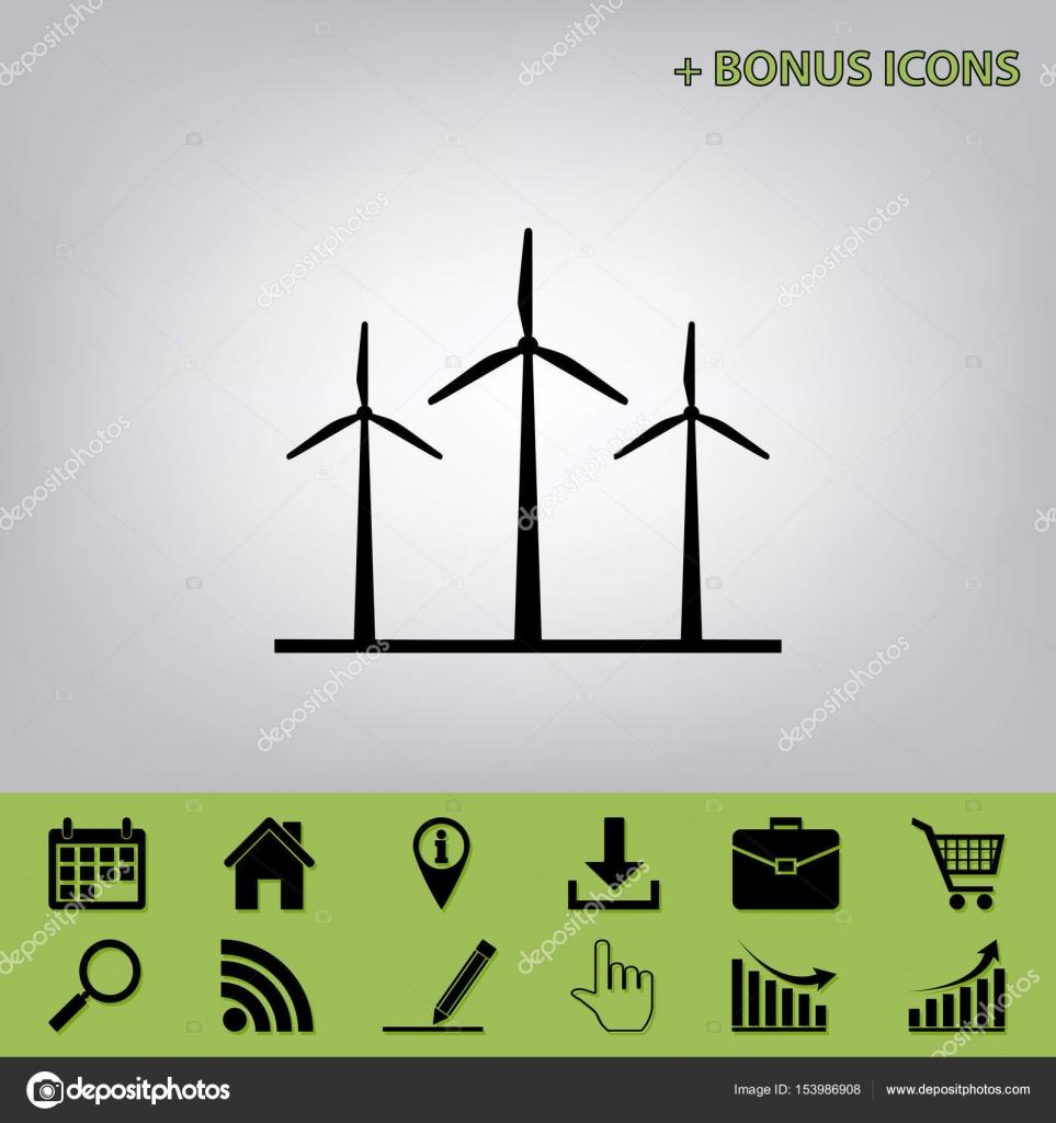 Wind Turbines Sign Vector Black Icon At Gray Background With Bonus Power Turbine Diagram Icons Celery