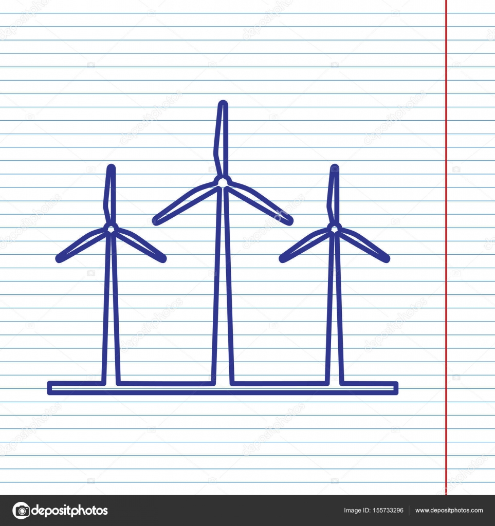 Wind Turbines Sign Vector Navy Line Icon On Notebook Paper As Power Turbine Diagram Background With Red