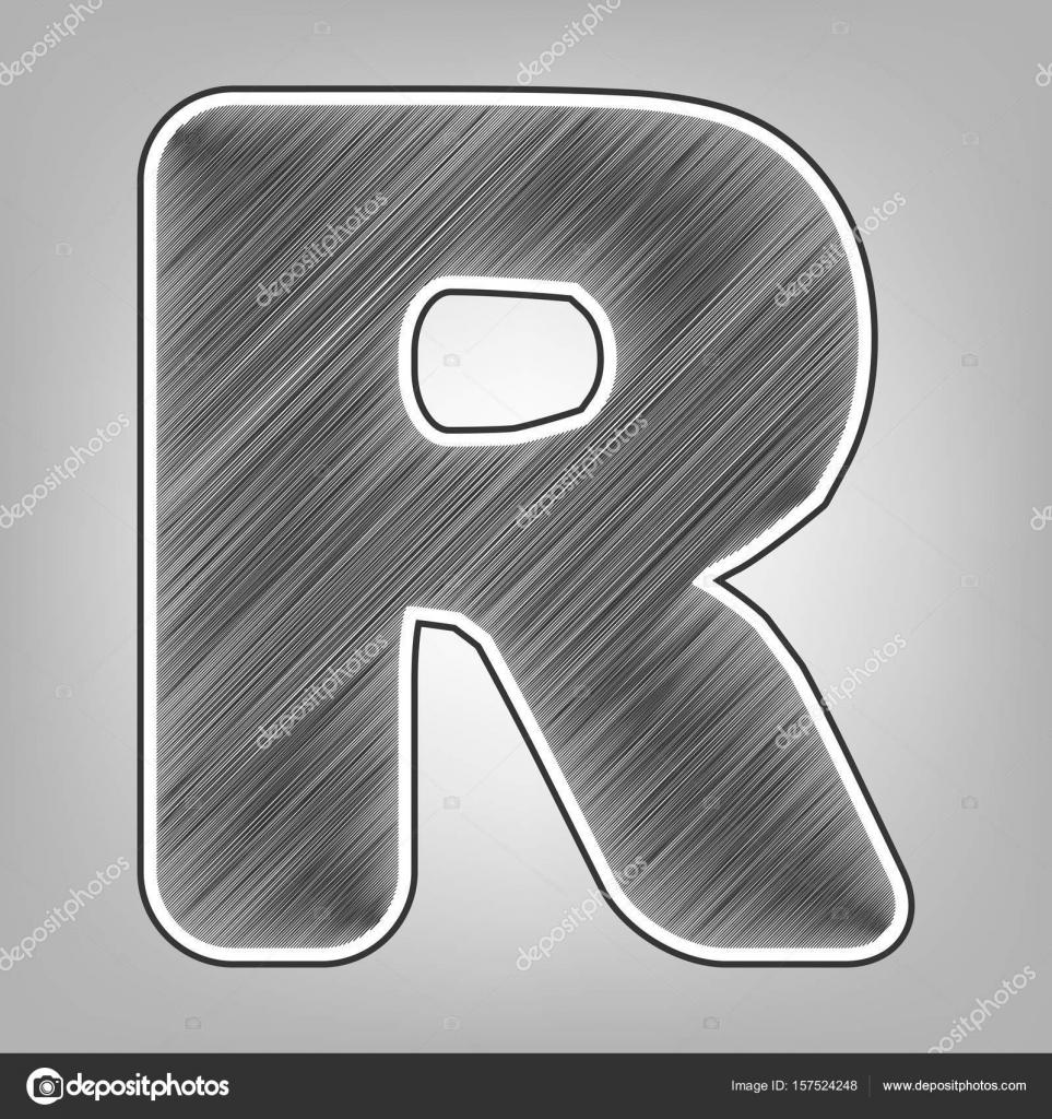 Letter r sign design template element vector pencil sketch imitation dark gray scribble