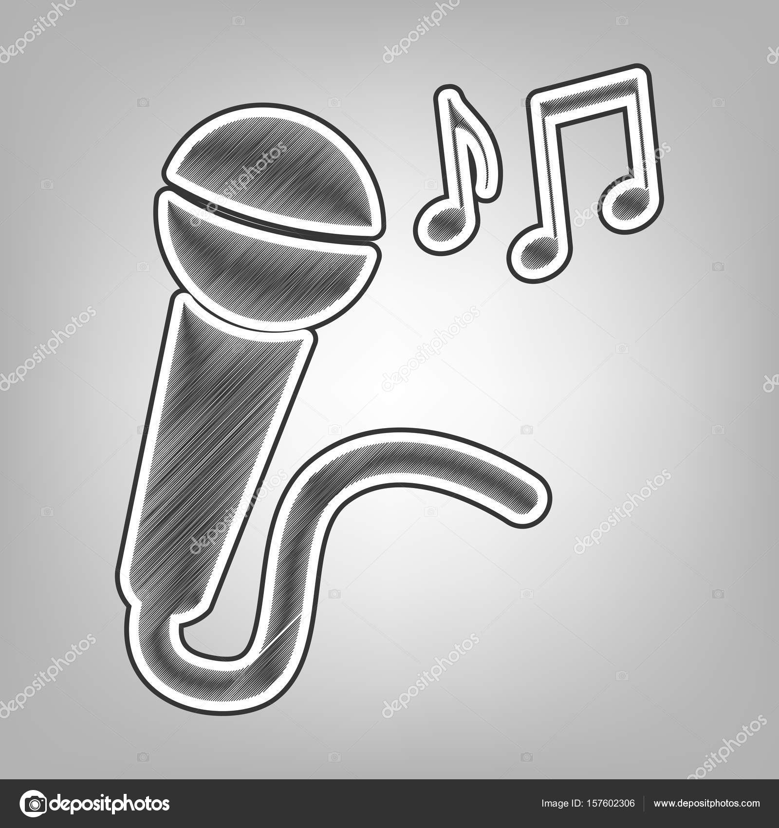microphone sign with music notes vector pencil sketch imitation