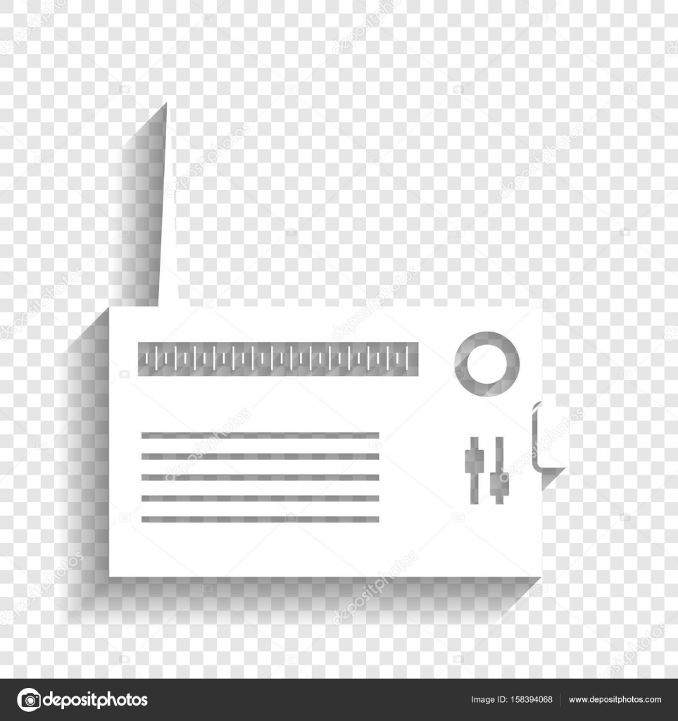 Radio sign illustration  Vector  White icon with soft shadow