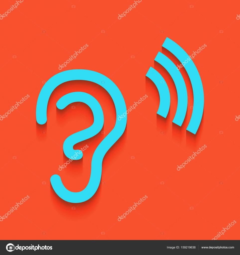 Anatomía humana. Señal de oreja con ondas sonoras. Vector. Icono ...