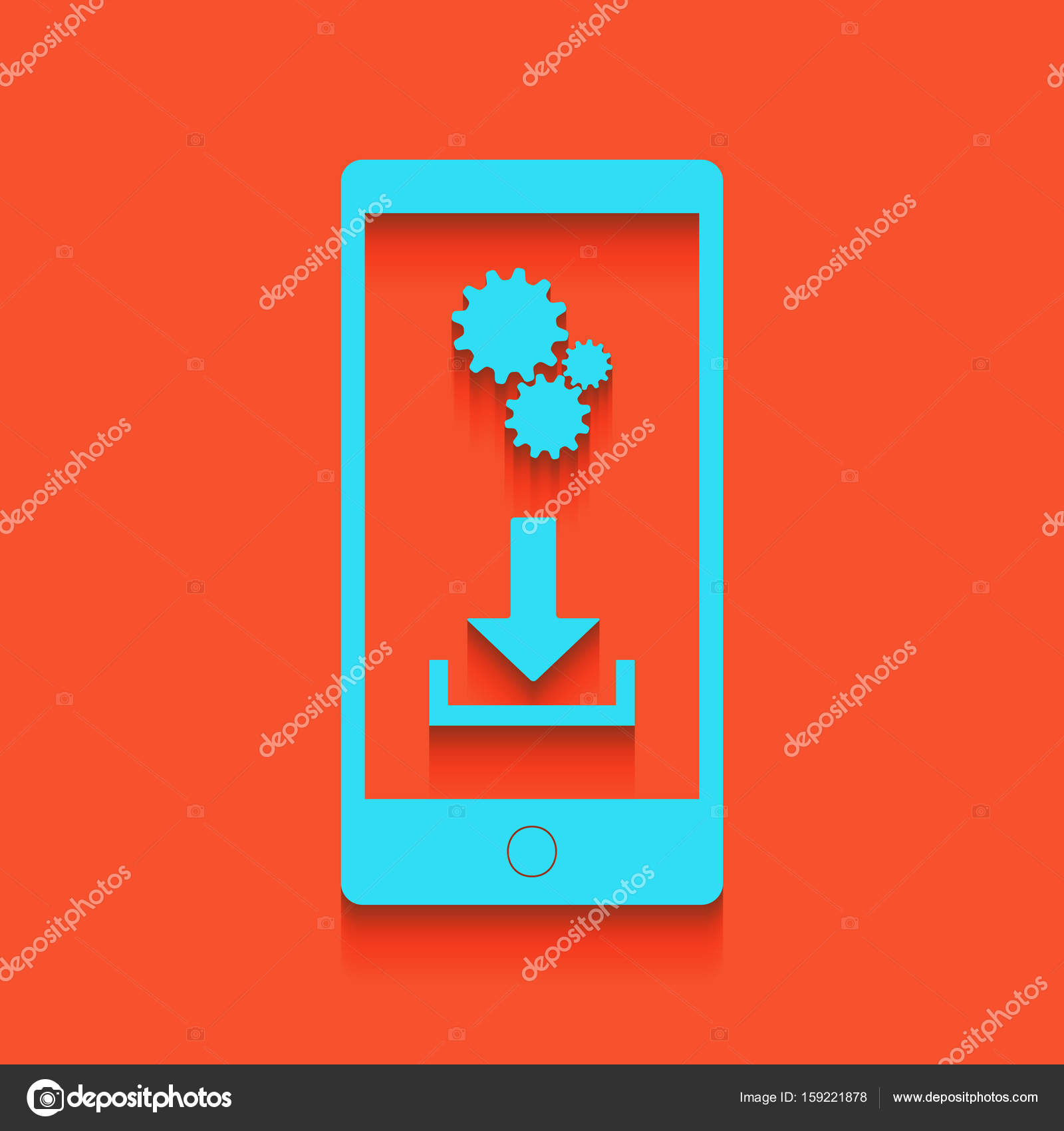 Phone settings  Download and install apps  Vector  Blue icon